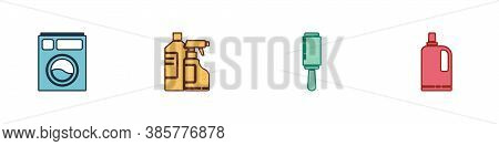Set Washer, Bottles For Cleaning Agent, Adhesive Roller And Fabric Softener Icon. Vector