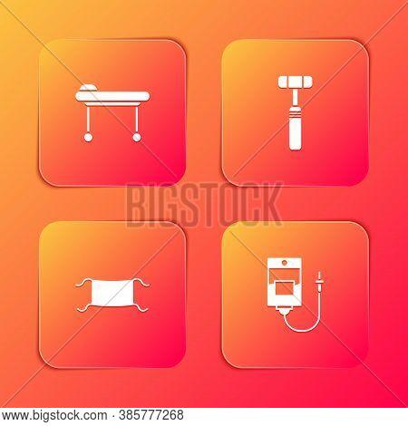 Set Stretcher, Neurology Reflex Hammer, Medical Protective Mask And Iv Bag Icon. Vector