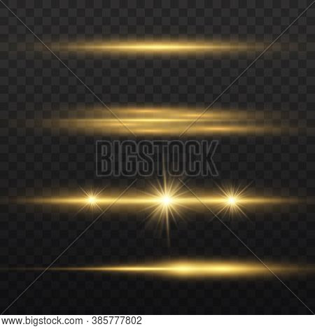 Horizontal Light Rays, Flash Yellow Horizontal Lens Flares Pack, Laser Beams, Glow Yellow Line On Tr