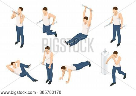 Isometric Set Icons Of Sportsman Making Workout, Pull-ups, Barbell, Push-ups, Weight Lifting, Dumbbe