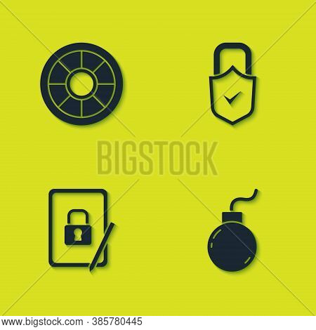 Set Safe, Bomb Ready To Explode, Tablet With Closed Padlock And Lock And Check Mark Icon. Vector