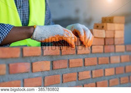 Bricklayer Cement Masonry Build Layer House Worker,concept Of Residential Building Under Constructio