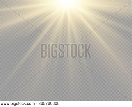 Sunlight With Bright Explosion, Flare Effect With Rays Of Light And Magic Sparkles, Sun Rays, Yellow