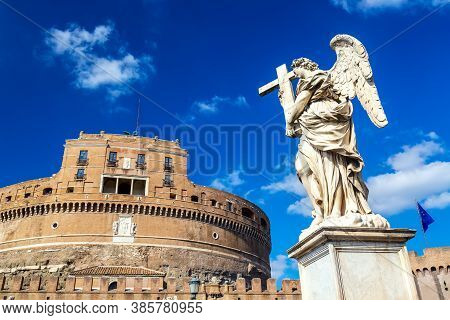 Castel Santangelo And Angel Statue During Sunny Day In Rome, Italy