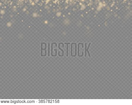 Sparkling Golden Magic Dust Particles On Transparent Background, Sparkle, Shine Lights, Yellow Dust