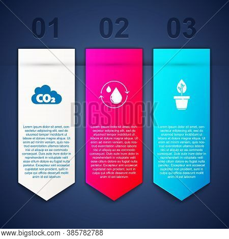Set Co2 Emissions In Cloud, Recycle Clean Aqua And Plant Pot. Business Infographic Template. Vector