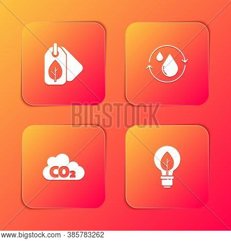 Set Tag With Leaf, Recycle Clean Aqua, Co2 Emissions In Cloud And Light Bulb Icon. Vector