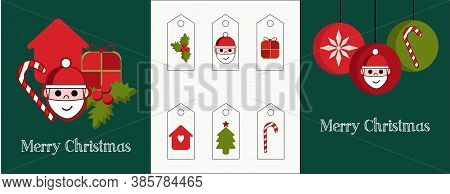 Illustration of a set of two cards and different tags for the gifts. Red and green graphics with Santa Claus, balls, candys, tree and holly christmas.