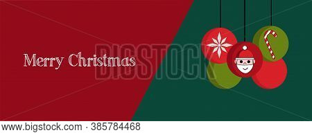 Illustration of Christmas banner, cover or greeting card with red and green elements and Merry Christmas quote