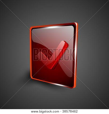 Glossy red 3D web 2.0 check mark validation symbol icon set. EPS 10.