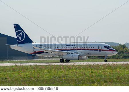 August 30, 2019. Zhukovsky, Russia. Russian Short-range Narrow-body Passenger Aircraft  Sukhoi Super