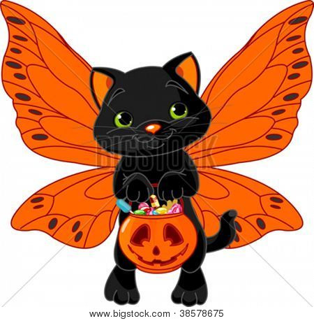 Cat with bag full of Halloween treats