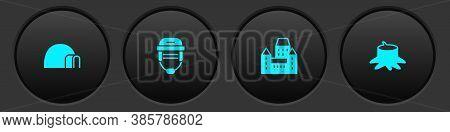 Set Igloo Ice House, Hockey Helmet, Chateau Frontenac Hotel And Tree Stump Icon. Vector
