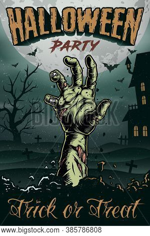 Halloween Party Colorful Vintage Poster With Zombie Hand On Cemetery And Haunted House Background Ve