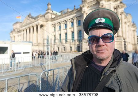 BERLIN - NOVEMBER 3, 2011: Protester in front of the Bundestag on November 3, 2011 in Berlin, Germany. Citizens are becoming more disillusioned with the current political system.