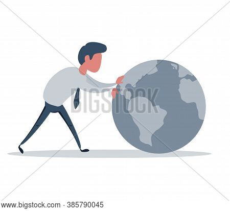 Side View Of Young Businessman Rolling The Earth Isolated On White Background. International Communi