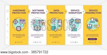Security Solutions Onboarding Vector Template. Software, Data Protection. Service Disruption. Respon