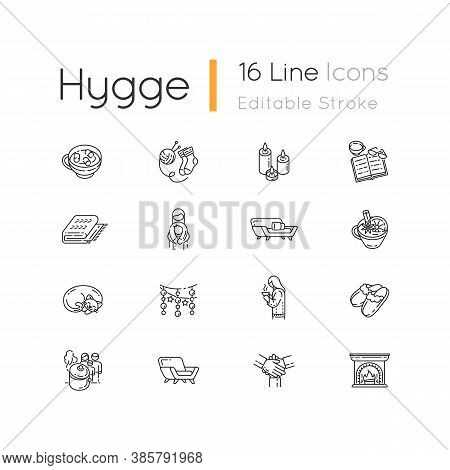Cozy Danish Trend Linear Icons Set. Scandinavian Christmas Hygge. Customizable Thin Line Contour Sym
