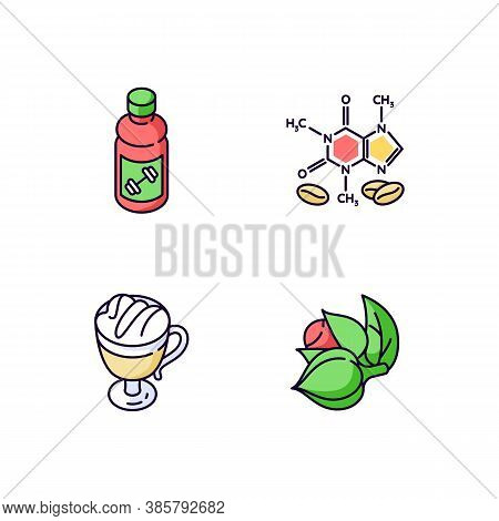 Drinks And Ingredients Rgb Color Icons Set. Caffeine Formula. Guarana Plant. Coffee Cup. Energy Drin