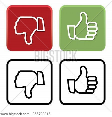 Thumbs Up And Thumbs Down Like And Dislike Icons In Red And Green Plus Black Line Art Vector Isolate