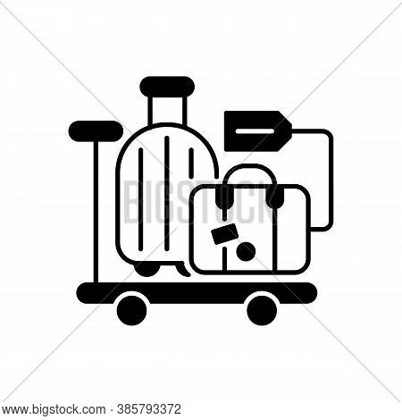 Baggage Car Black Linear Icon. Railway Transportation, Train Service. Holiday Trip, Vacation Outline