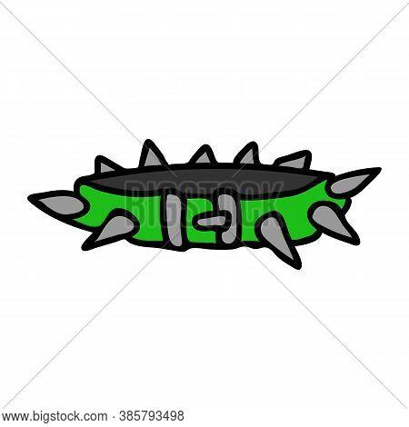 Punk Rock Spiked Collar Vector Illustration Clipart. Simple Alternative Sticker. Kids Emo Rocker Cut