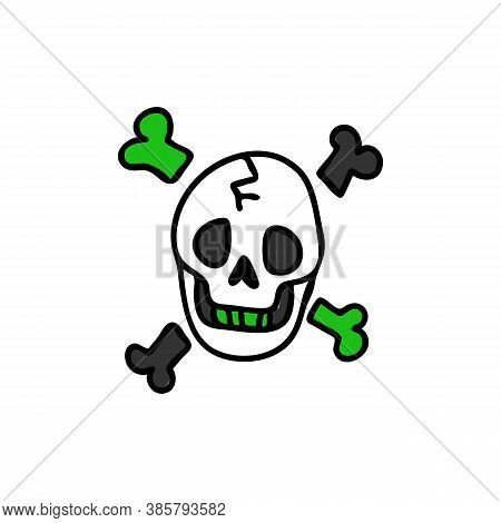 Punk Rock Skull And Bones Vector Illustration Clipart. Simple Alternative Sticker. Kids Emo Rocker C