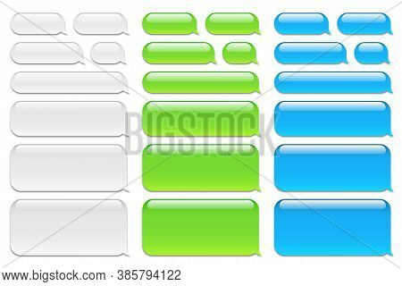 Blank Vector Message Bubbles. Chat Or Messenger Speech Bubble. Sms Text Frame. Short Message Sending