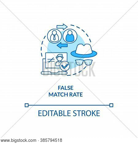 False Match Rate Concept Icon. Invalid System Working Process. Bad Verification Result. Biometrics P