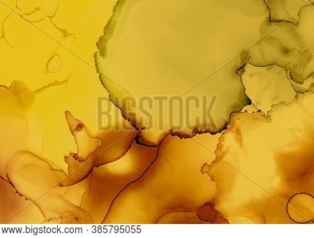 Black And Yellow Abstract Acrylic Texture. Color Fluid Wallpaper. Watercolor Motion Effect. Artistic