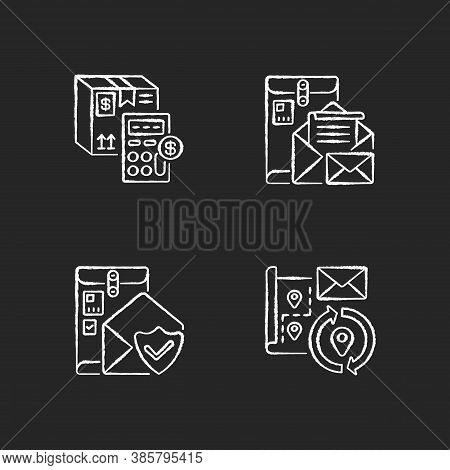 Mail Chalk White Icons Set On Black Background. Calculating Cargo Price, Cargo Insurance, Address Ch