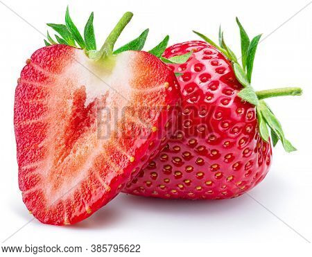 Strawberry with strawberries slice isolated on a white background.