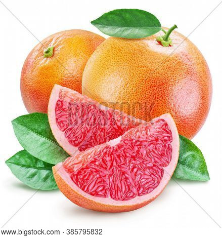 Grapefruits with leaves and grapefruit slices isolated on a white background. Clipping path.