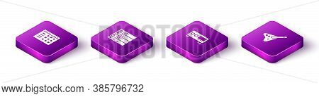 Set Isometric Drum Machine, Music Playlist, Guitar Amplifier And Electric Bass Guitar Icon. Vector