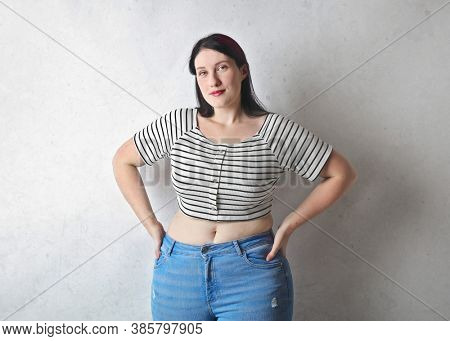 portrait of beautiful overweight woman
