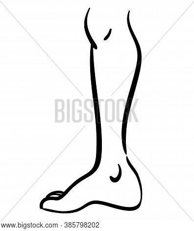 Black Contour Line Illustration Of Thin Leg, Minimalistic Icon