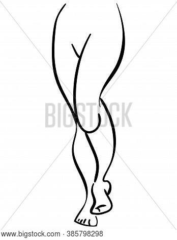 Black Contour Illustration Of Woman Legs Walking, Minimalistic Stylized Icon