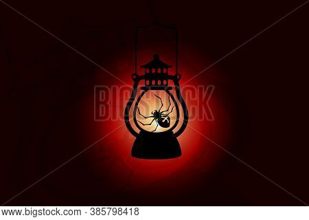 Halloween Lantern, Spider Silhouette Llustration On Halloween, The Lantern Is Shining