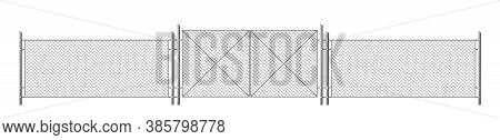 Wire Fence, Grid With Gate. Three Segments Silver Colored Fencing, Perimeter Protection Barrier Sepa