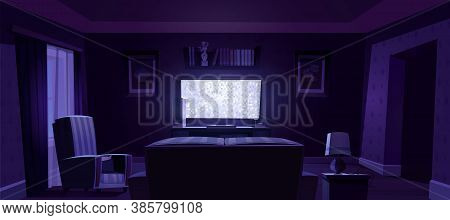 Living Room Interior With Rear View To Sofa, Chair And Glowing Tv Screen At Night. Vector Cartoon Il