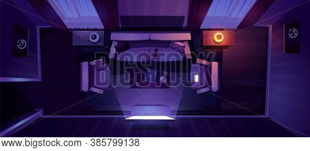 Living Room Interior At Night Top View. Vector Cartoon Illustration Of Lounge With Sofa, Chairs And