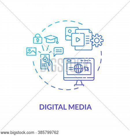 Digital Media Concept Icon. Communication Channel. Online Studying Platform. Educational Information