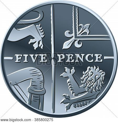 British Money Silver Coin Five Pee Or Five Pence, Reverse With Segment Of Royal Shield