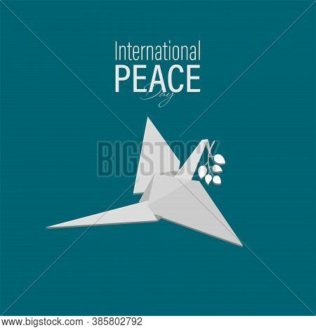 Vector Illustration Of International Peace Day. September 21. Dove Flying With Leafs On Its Beak