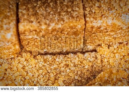 Row Of Organic Sugar Bricks Macro, Shallow Dof