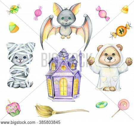 A Bear In A Ghost Costume, A Kitten In A Mummy Costume, A House With Ghosts, A Broom And Candy. Wate