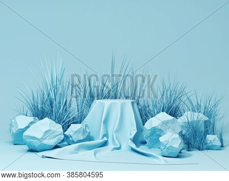 Product stand with fabric on podium and stones, conceptual art, 3D illustration, rendering.