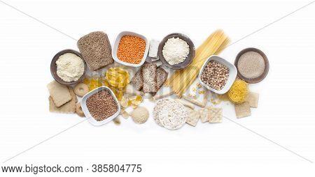Banner Gluten Free Set. Gluten Free Food. Various Gluten Free Pasta, Bread, Snacks And Flour, Top Vi