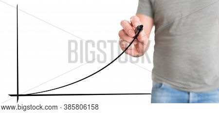 Man In Casual Clothing Drawing Exponential Curve, Business Success Concept