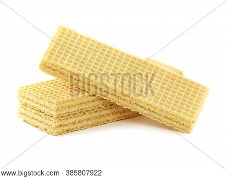 Wafers Filled With White Cream Isolated On White